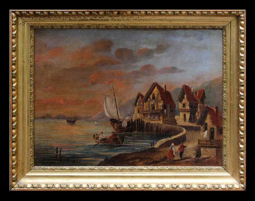 Dipinto raffigurante un villaggio costiero, XIX secolo