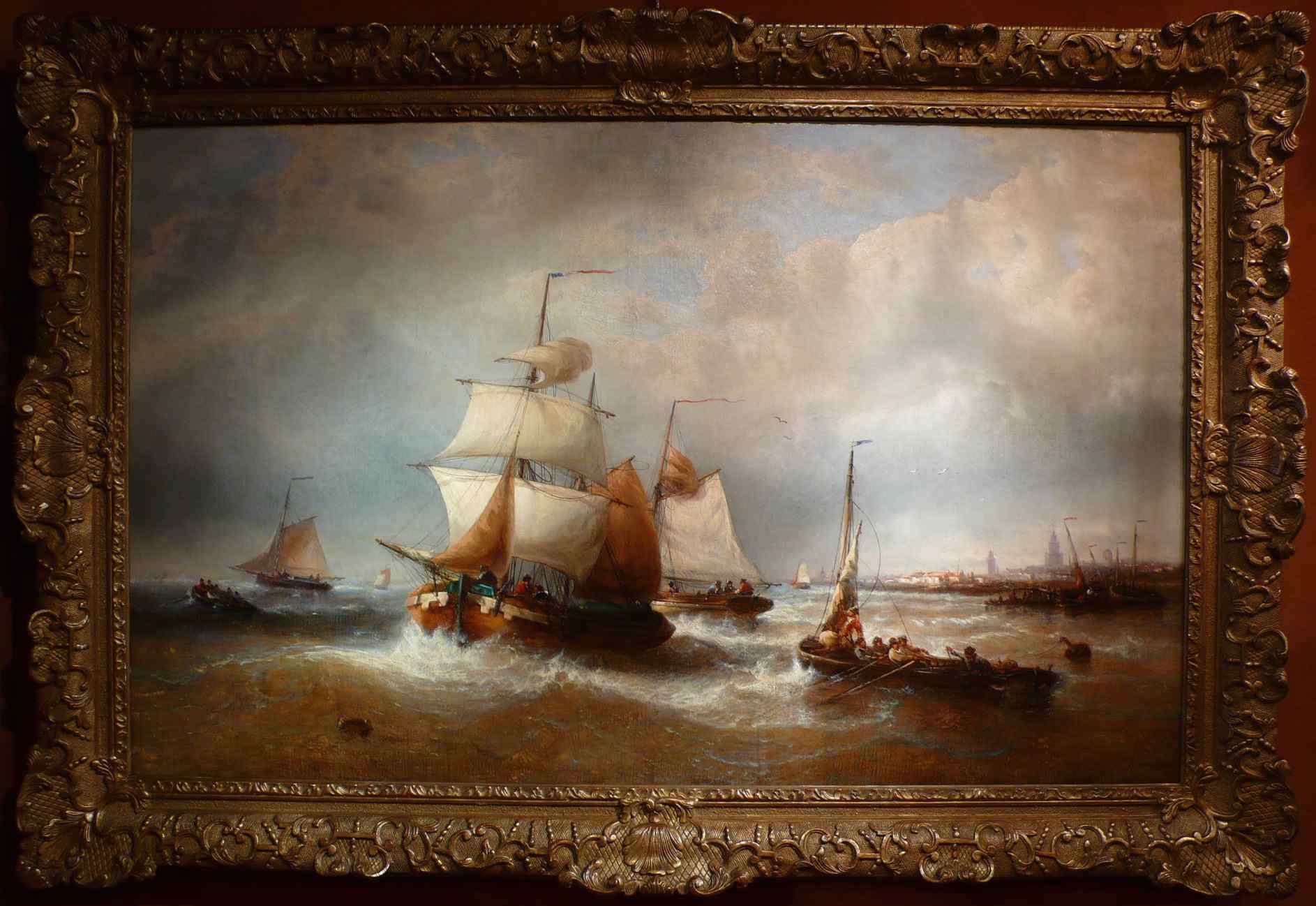 Ships Leaving The Port by François Musin