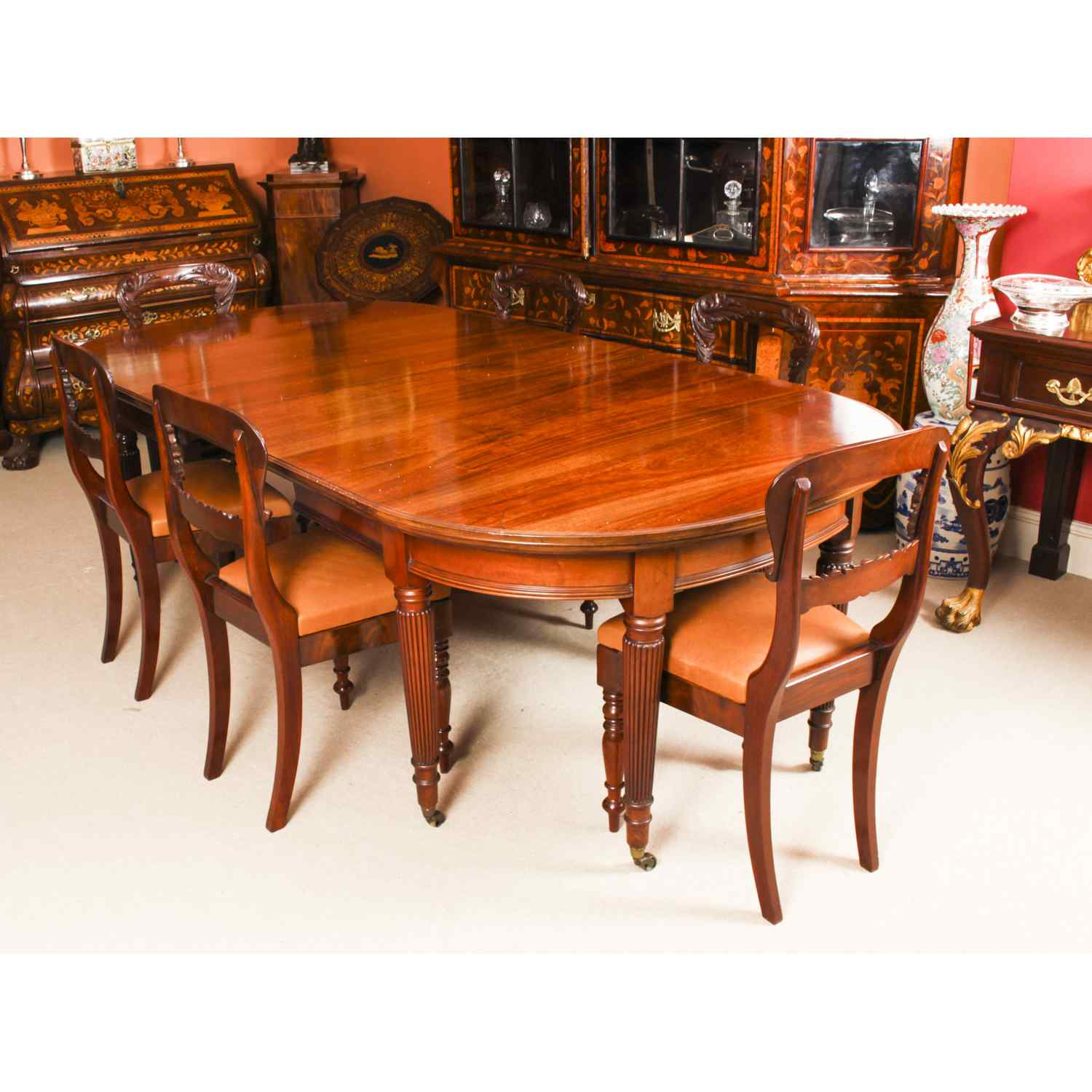 Antique Victorian Extending Dining Table & 9 chairs 9th C