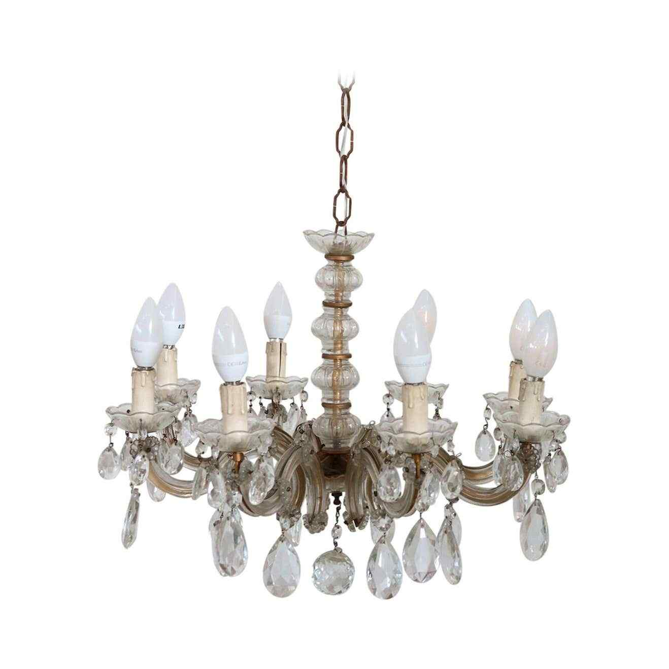 Lustre ancien en cristal Maria Theresa à huit lumières 19ème