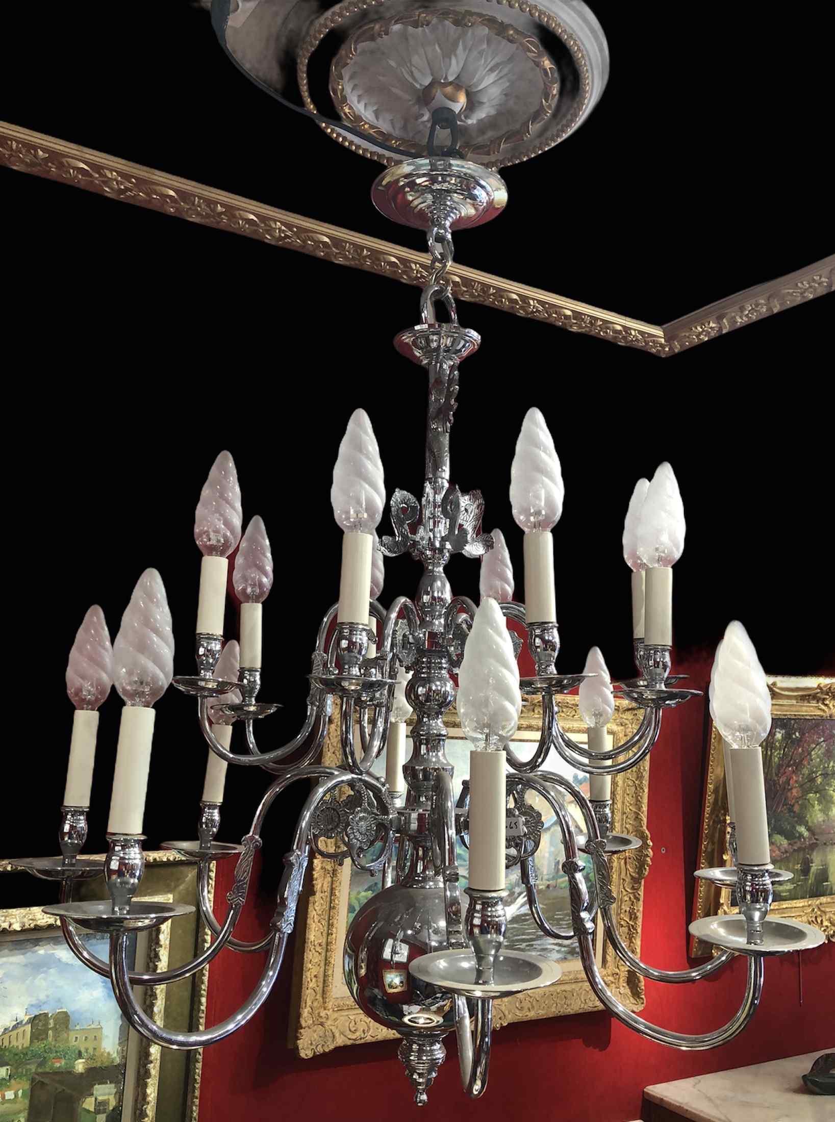 Lustre Ancien Style Hollandais 20è Siècle En Metal Chromé