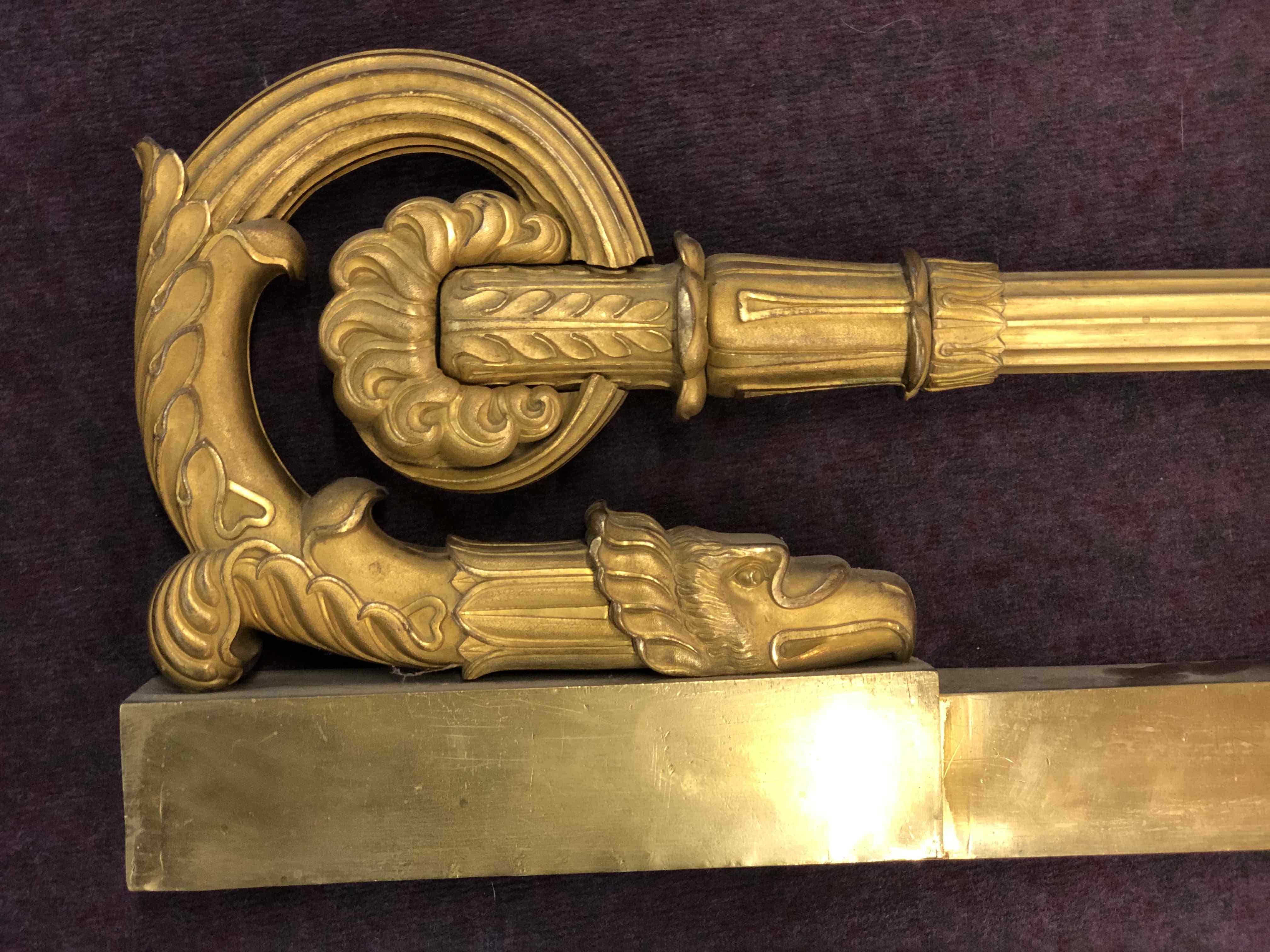 Empire Period Gilt Bronze Fireplace Bar - Chenet - Ba