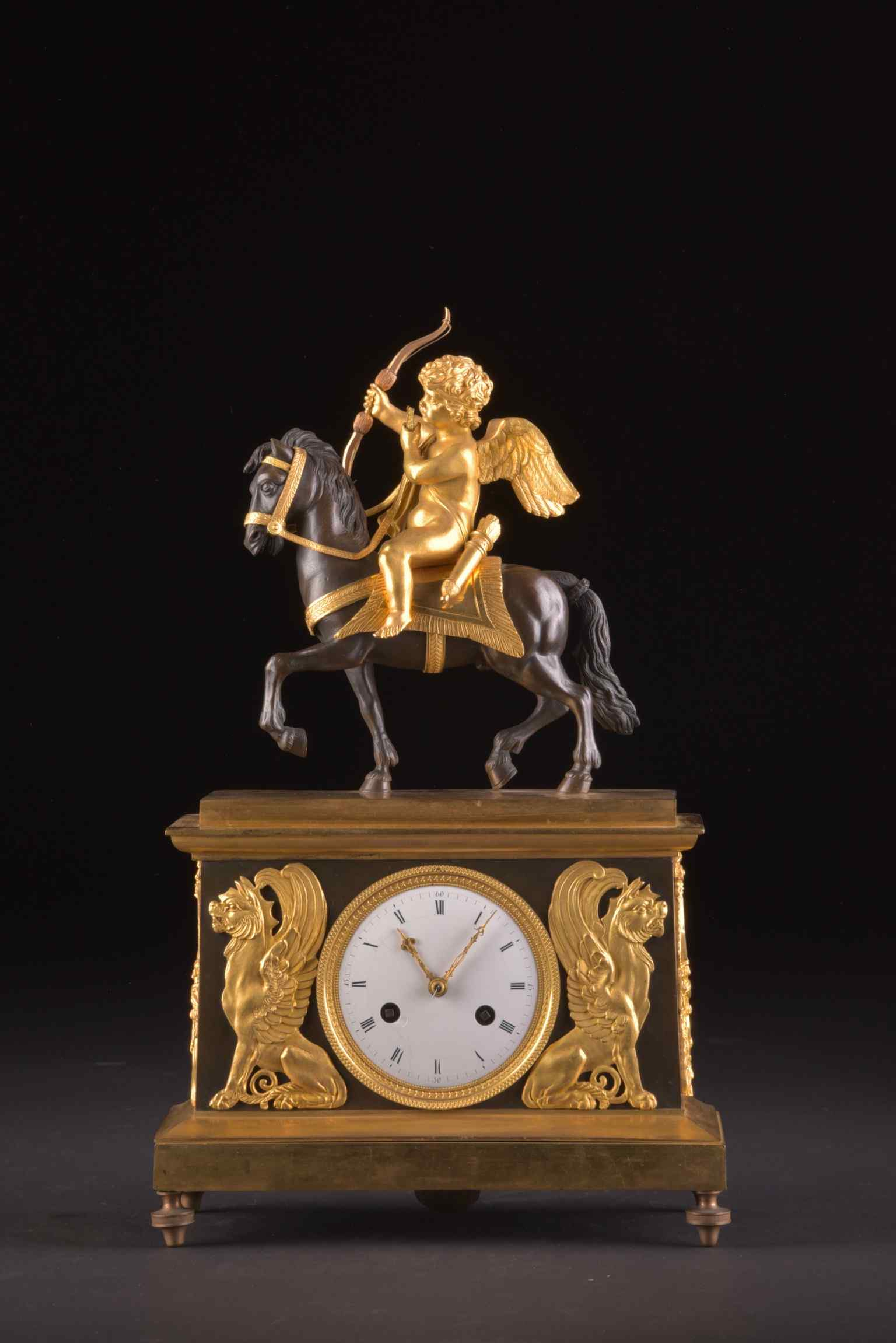 Cupido on horseback, Directoire pendule ca. 1785