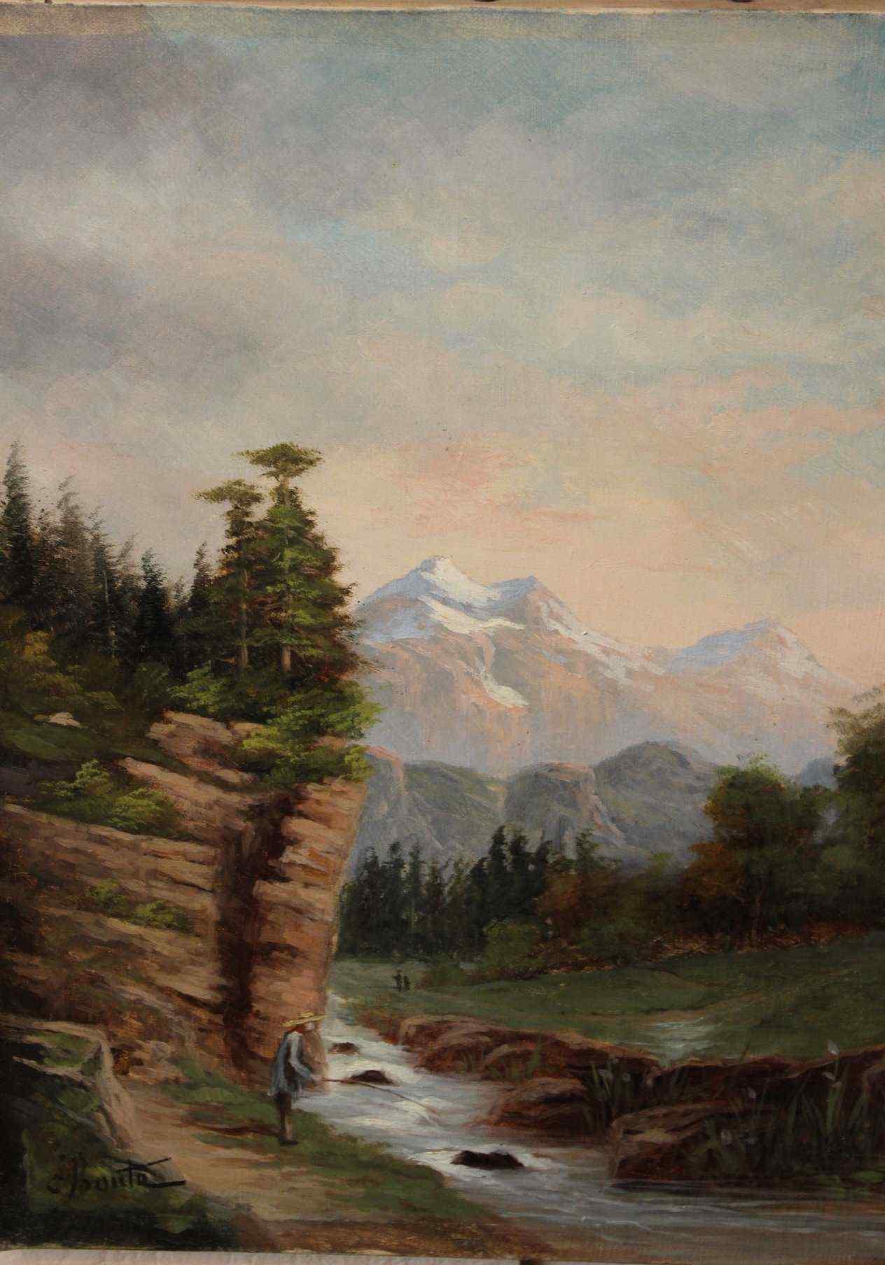 Olio su tela coppia rappresentante del paesaggio della monta