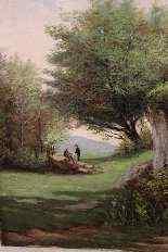 Olio su tela coppia rappresentante del paesaggio della monta-3
