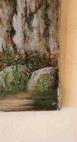 Olio su tela coppia rappresentante del paesaggio della monta-6