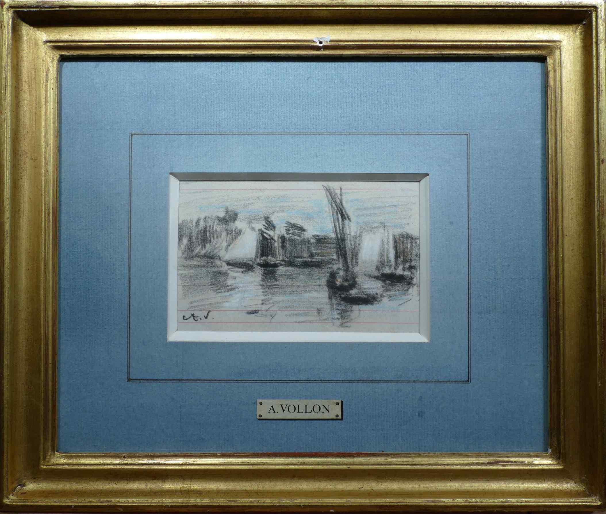 VOLLON Antoine Le barche a vela Disegno ad acquerello