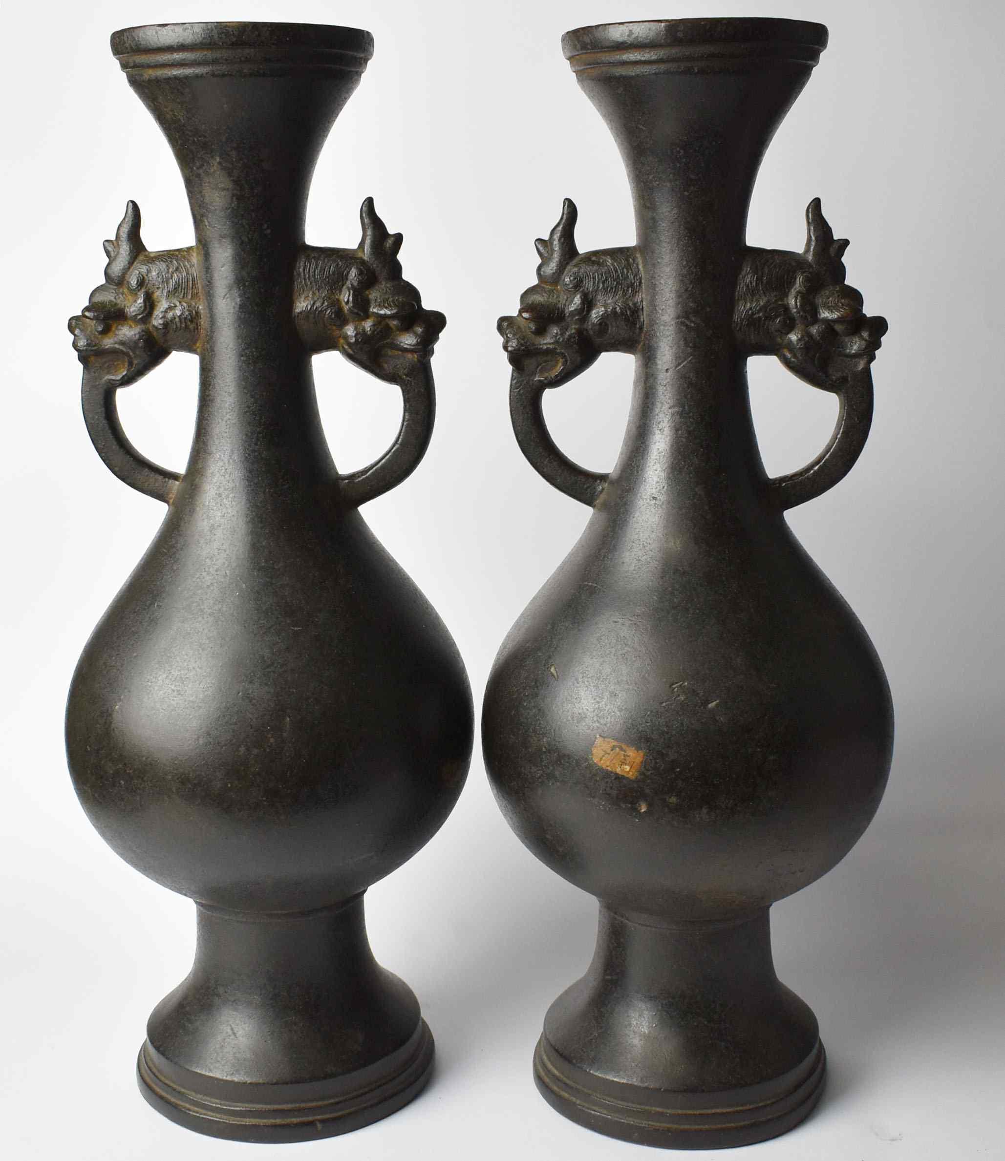 pair vases in bonze chinese 18th century