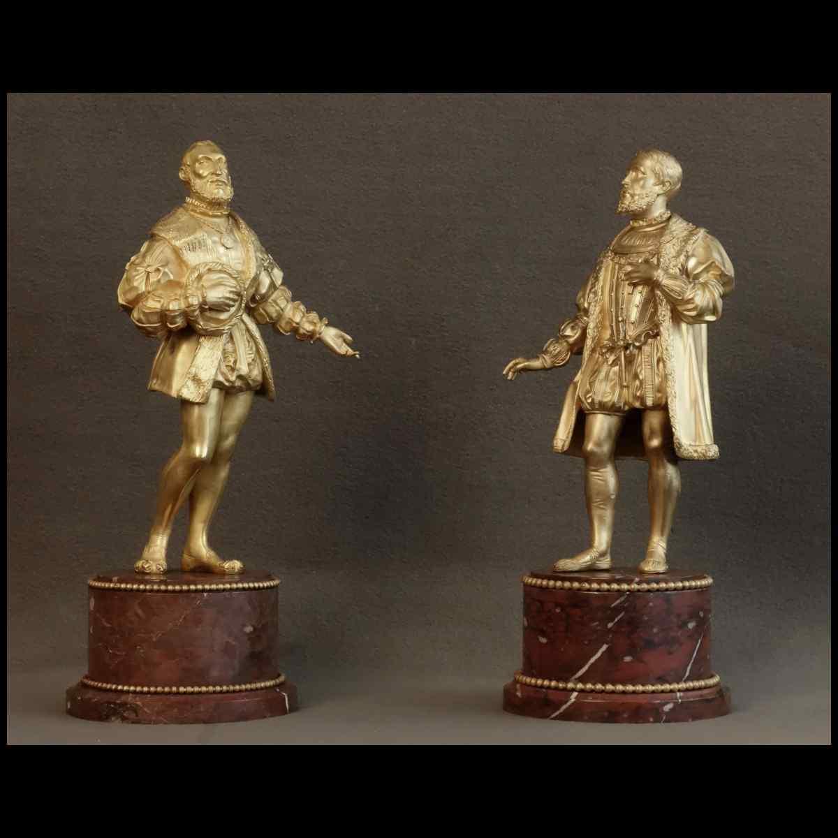 Paire De Statues Représentant Henri IV Et Sully XIXème