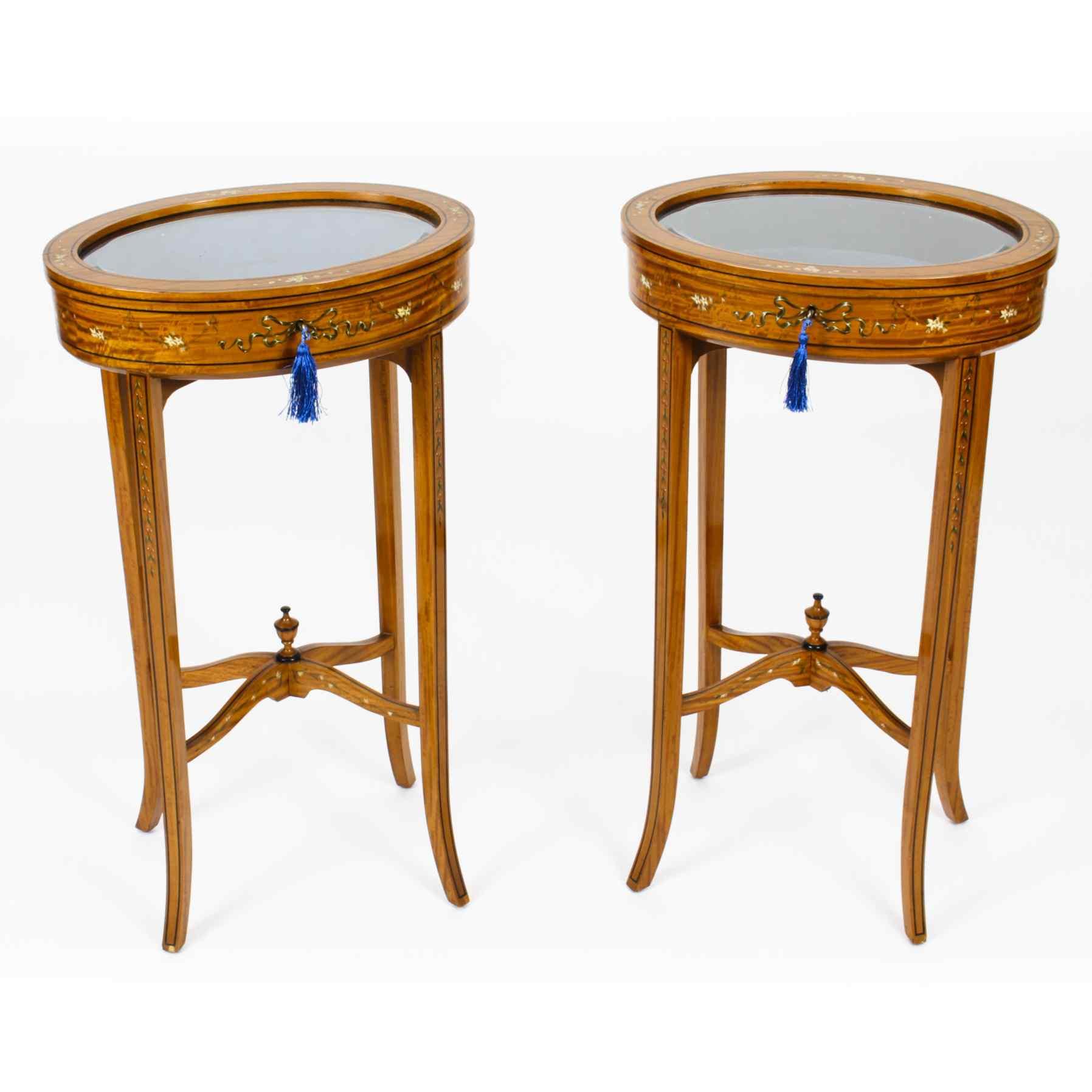 Antique Pair Edwardian Satinwood Bijouterie Display Tables