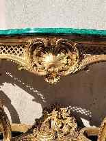 Valerian Rybar, Consolle Rocaille In Legno Dorato, XX Secolo-10