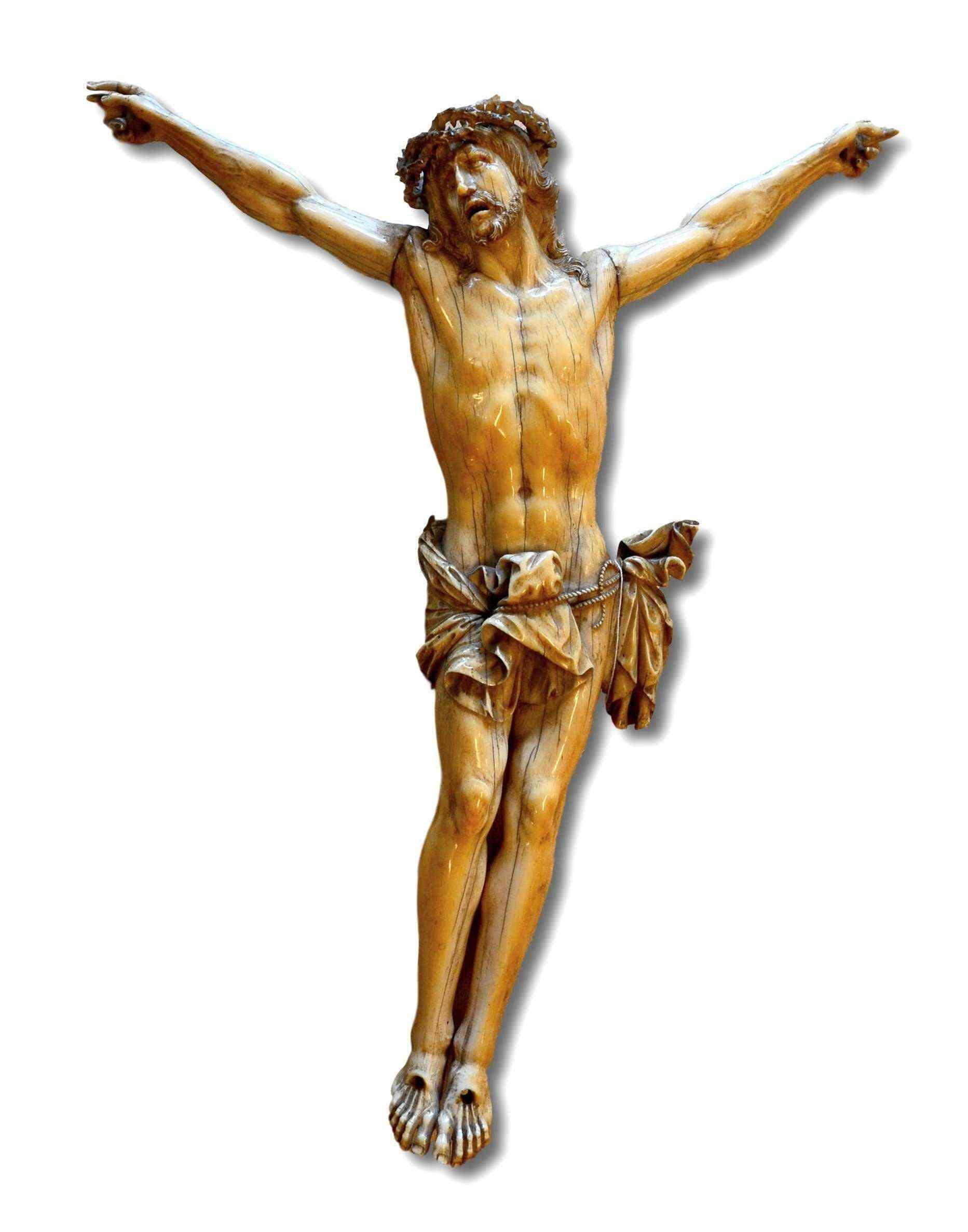 Sculpture en ivoire sculpté, Christ crucifié, XVIIe siècle