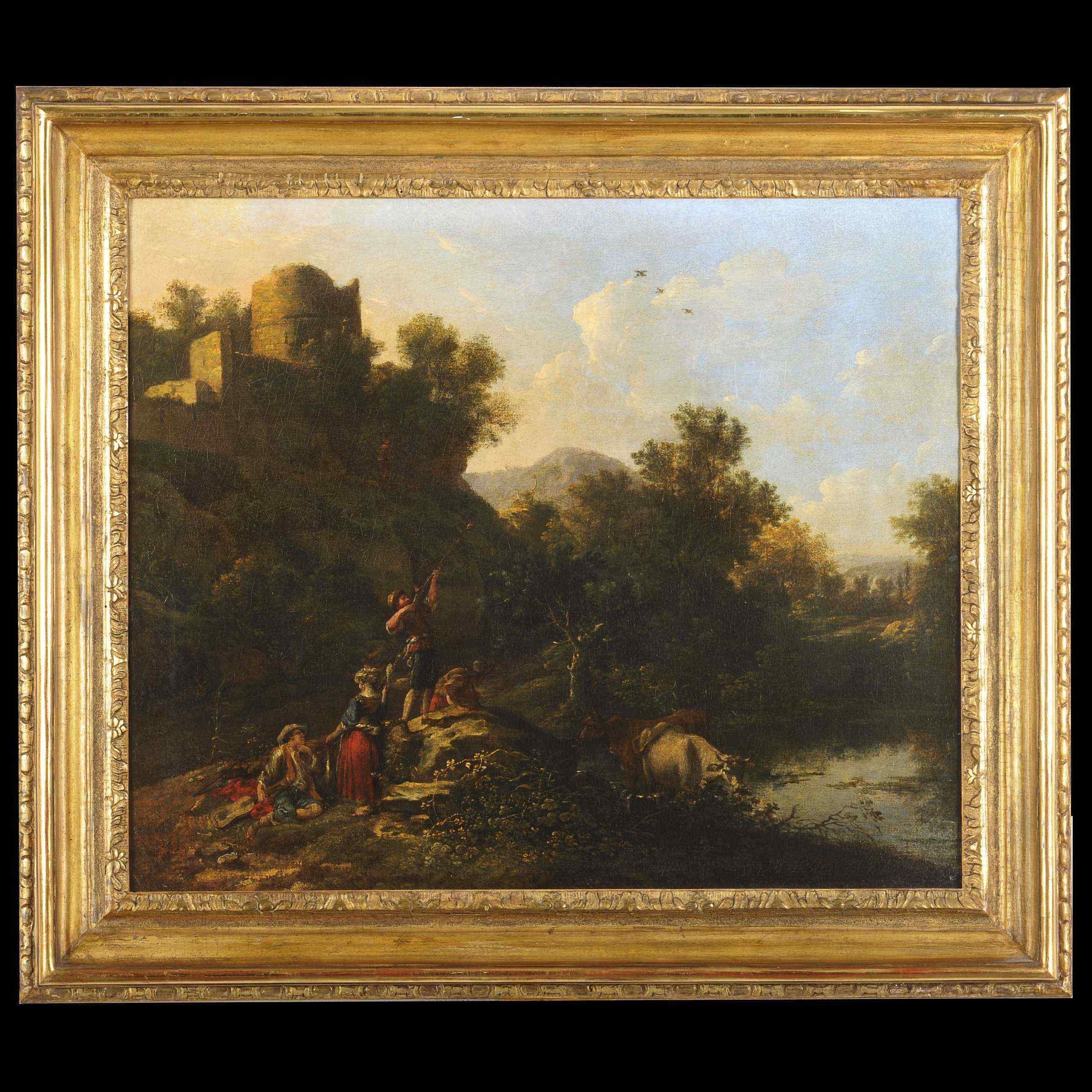 Пейзаж с охотниками - французская школа возле 1730