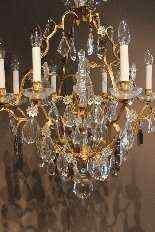 Люстра подвески позолоченной бронзы и кристаллов-0