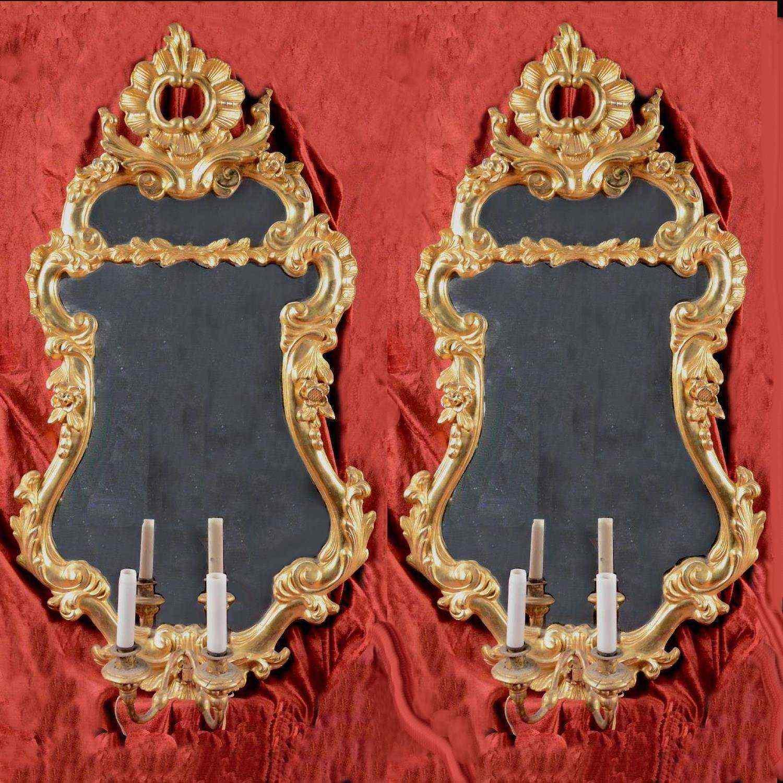 Paire d'appliques à miroir, Venise XVIIIème siècle