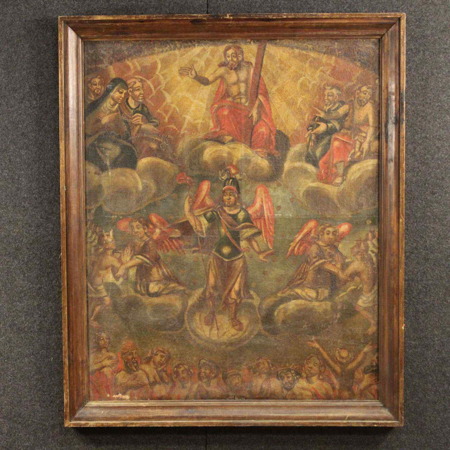 Ancien tableau religieux espagnol du XVIIIème siècle