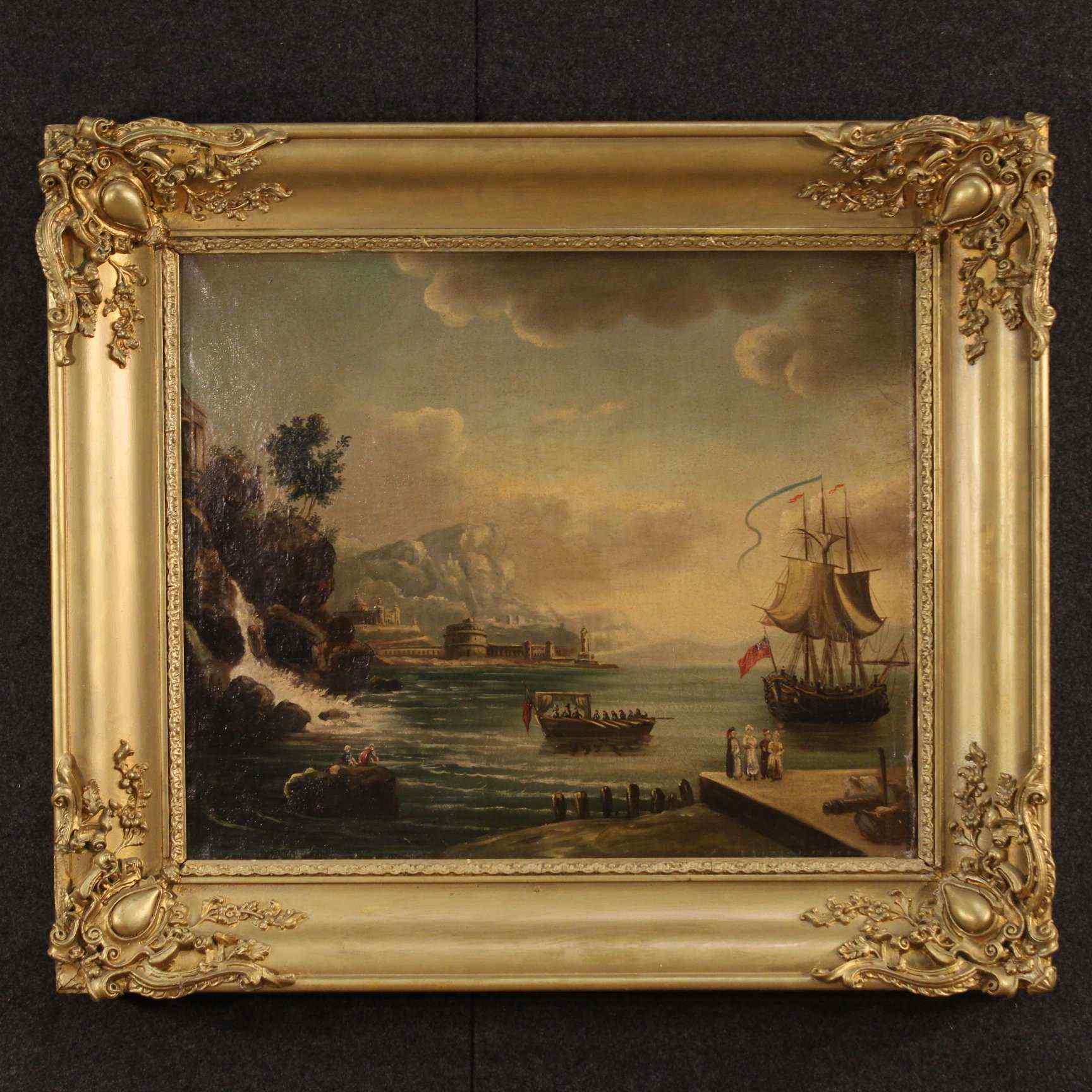 Ancien tableau français représentant marine XIXème siècle