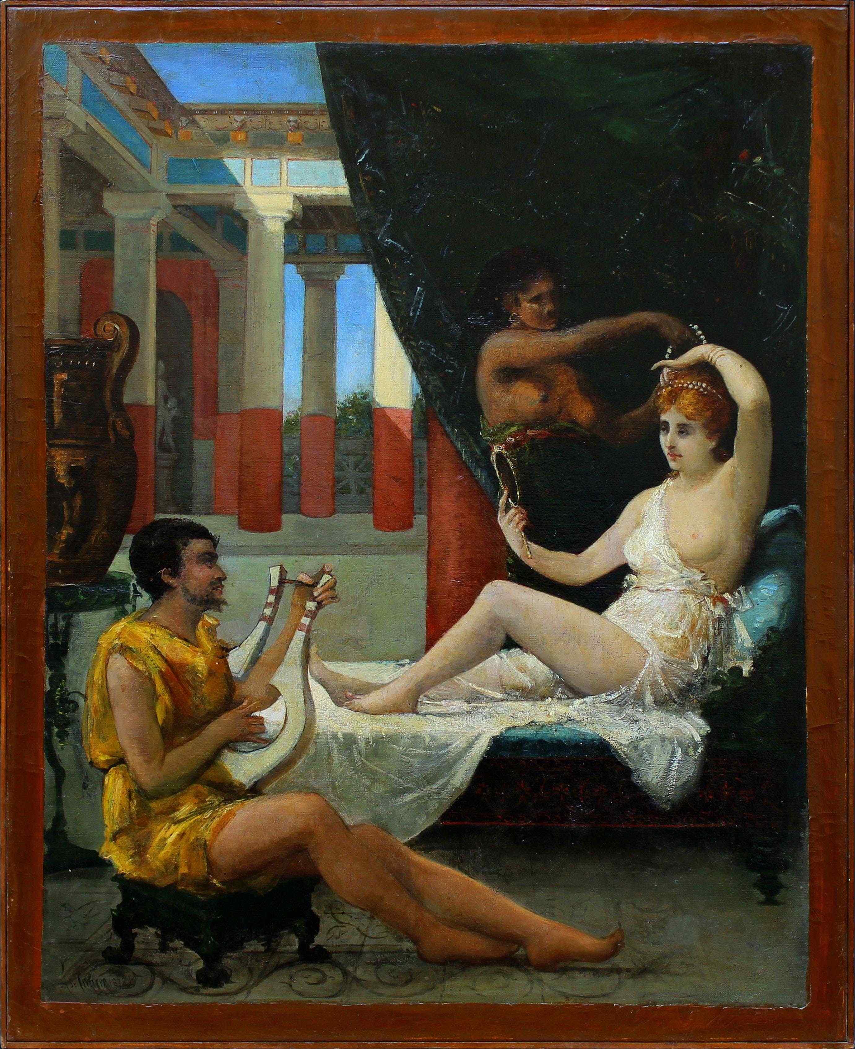 Dix-neuvième siècle, Scène classique, huile sur toile