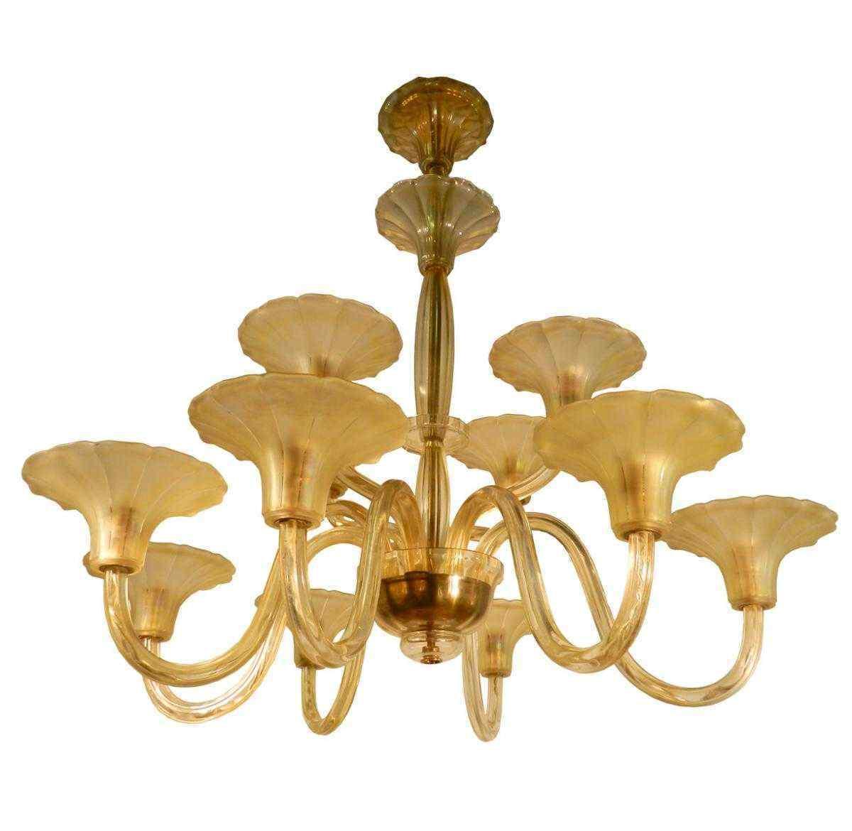 lustre poque art deco a 12 branches verre jaune anticswiss. Black Bedroom Furniture Sets. Home Design Ideas
