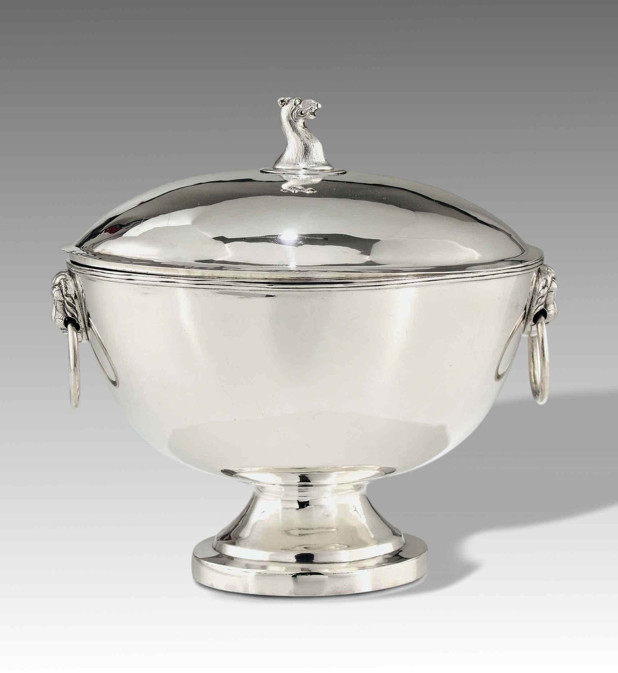 Zuppiera con coperchio, argento 925/, Inghilterra