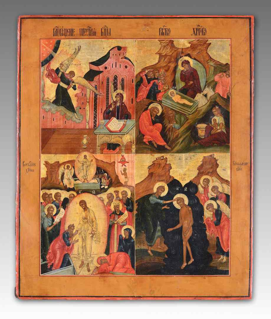 Russian Icon, Four Episodes drom Byzantine Liturgical Calend