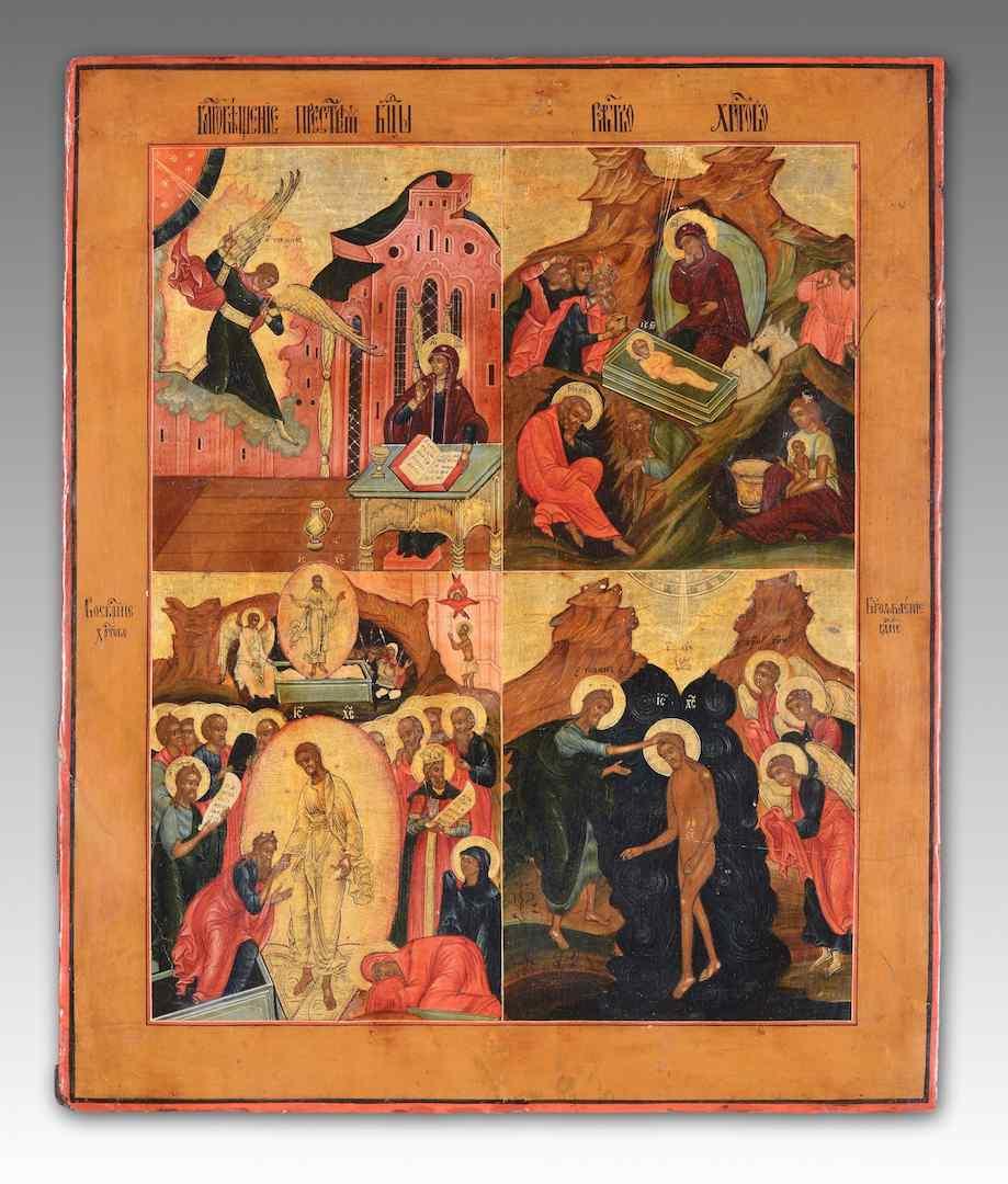 Icona raffigurante quattro episodi del calendario liturgico