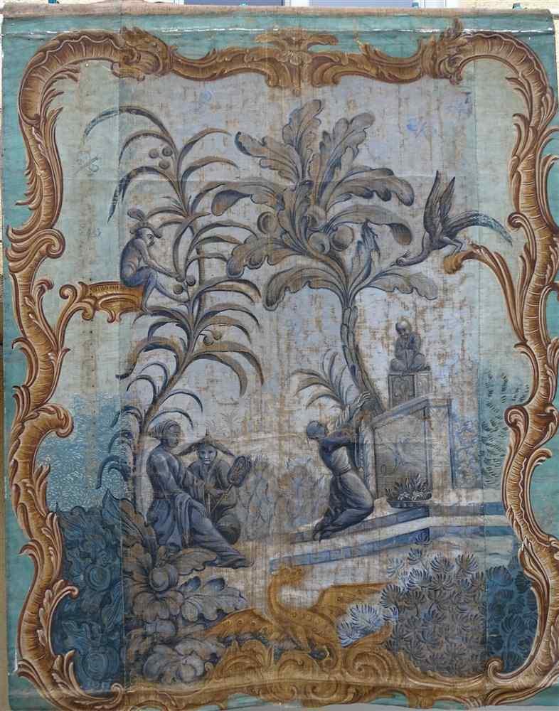 Grande murale tela dipinta, arredamento cinese
