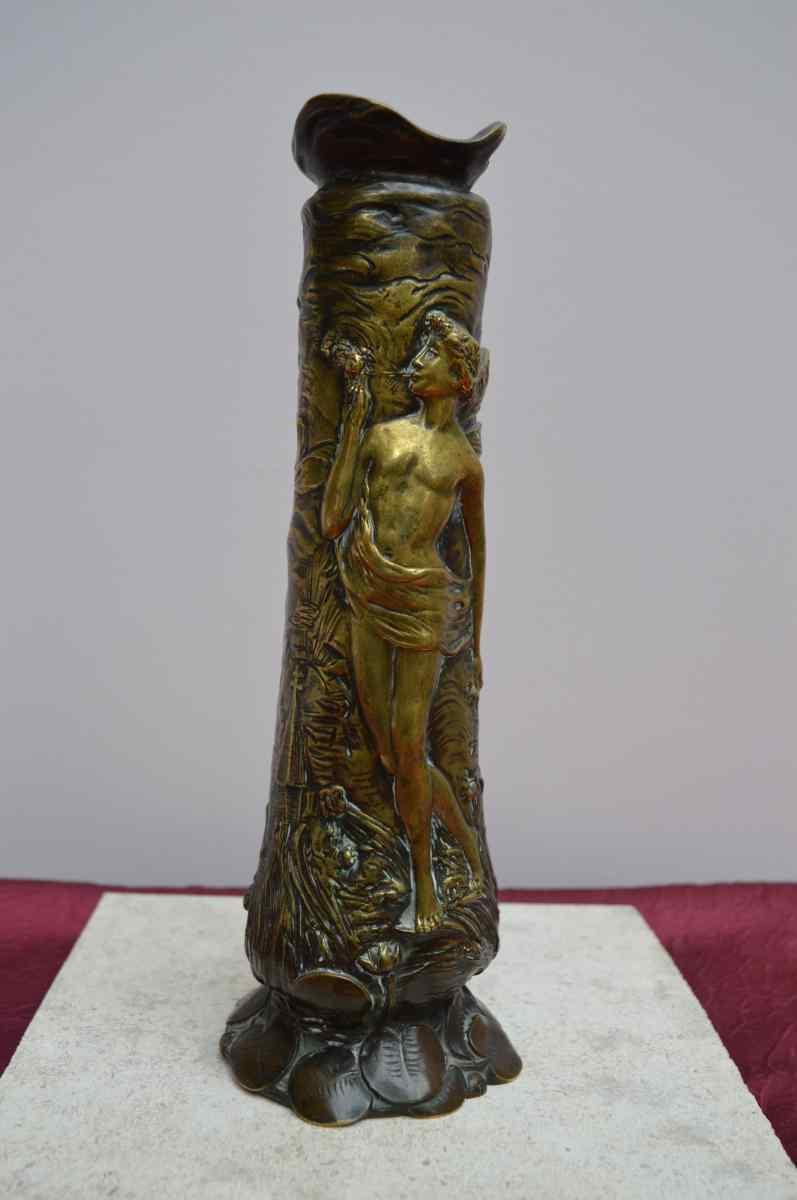 Art Nouveau Бронзовая ваза Подпись Чарльз Louchet