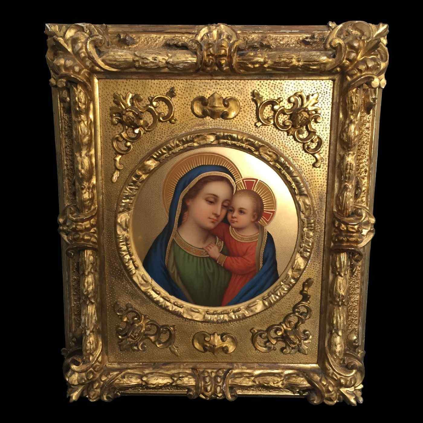 Madonna con bambino , olio su porcellana , XIX secolo.