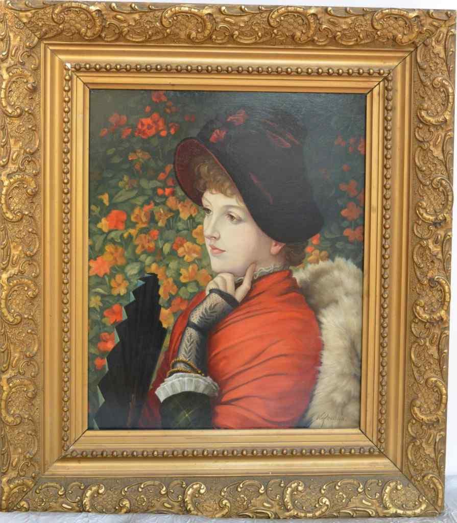 Pittura di Victor Marie Roussin. Ritratto di elegante. XIX.