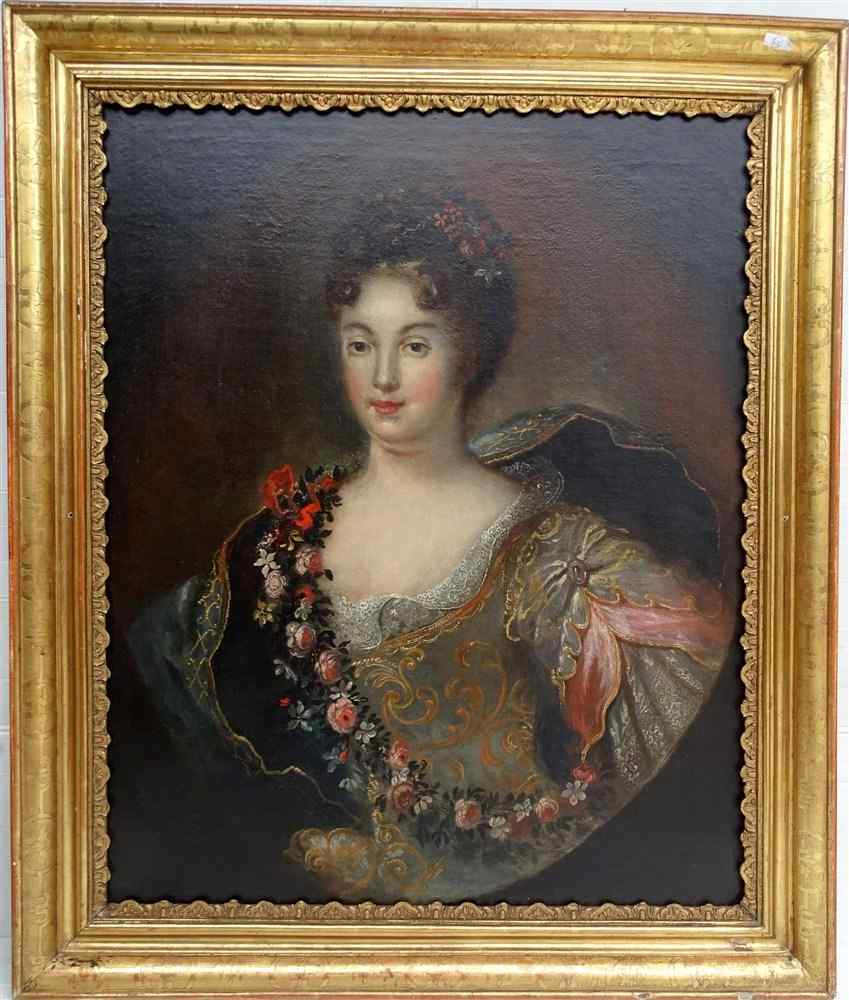 Giovane donna in impianti c 1680, seguace di François de Tro