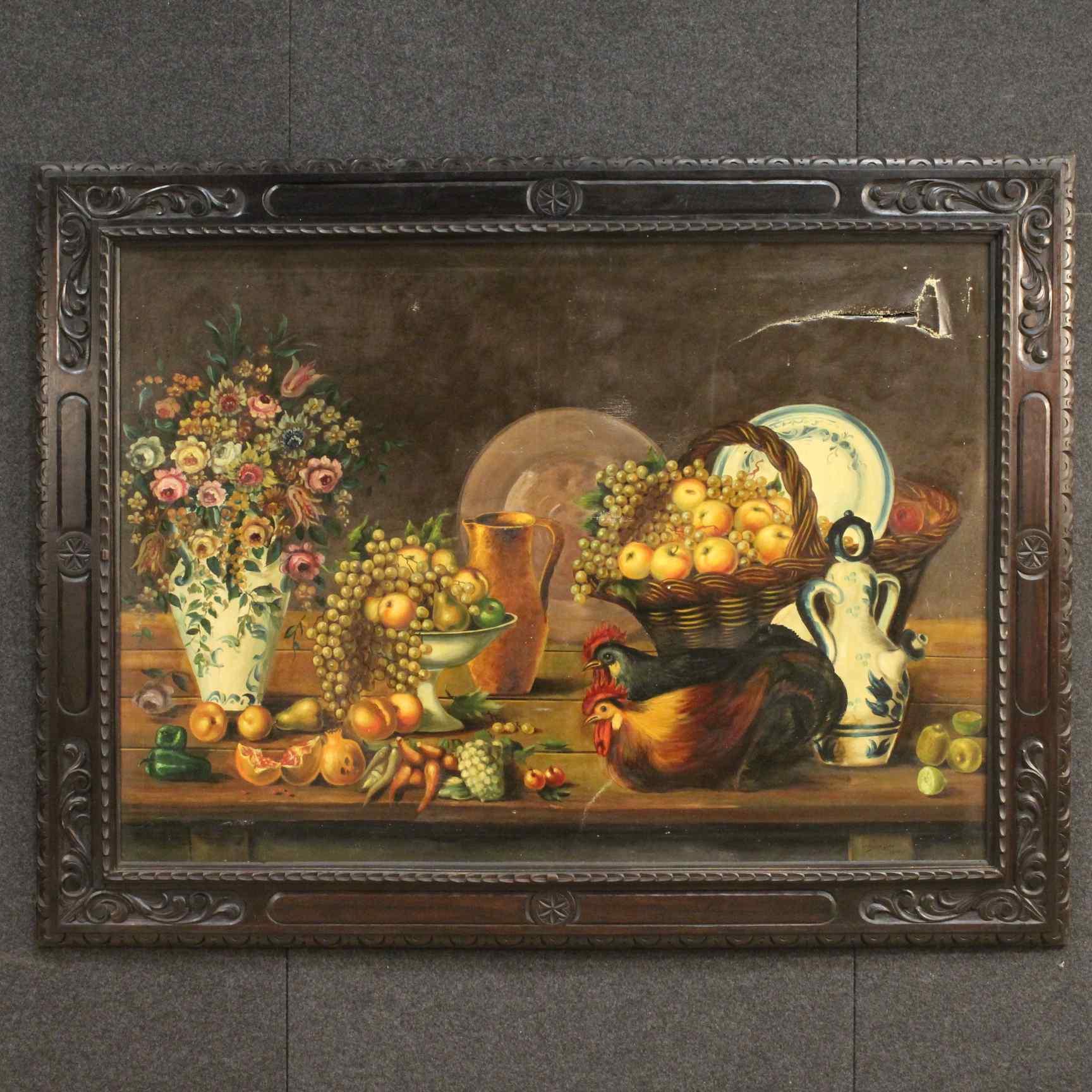 Dipinto spagnolo firmato raffigurante natura morta
