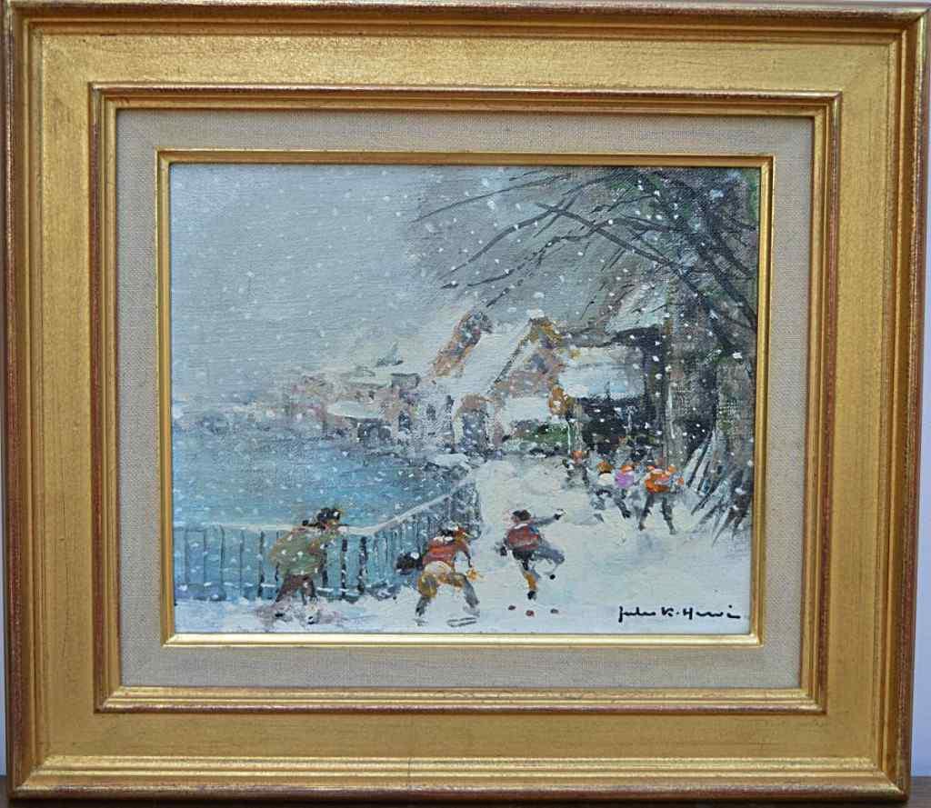 Tableau De Jules René Hervé, Jeux d'Enfants Sous La Neige.