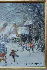 Tableau De Jules René Hervé, Jeux d'Enfants Sous La Neige.-0