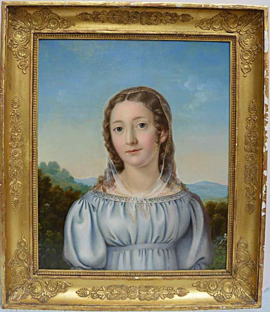 Lyonnais Школа 1820, Портрет женщины перед пейзаж.