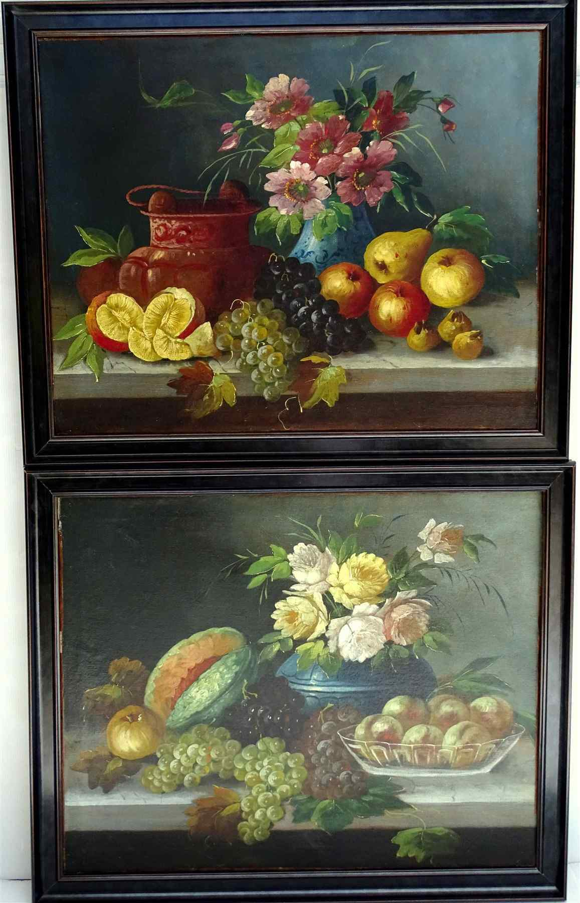 Pair Of Still Life Fruits & Flowers On A nineteenth Entablat