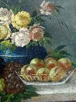 Pair Of Still Life Fruits & Flowers On A nineteenth Entablat-11