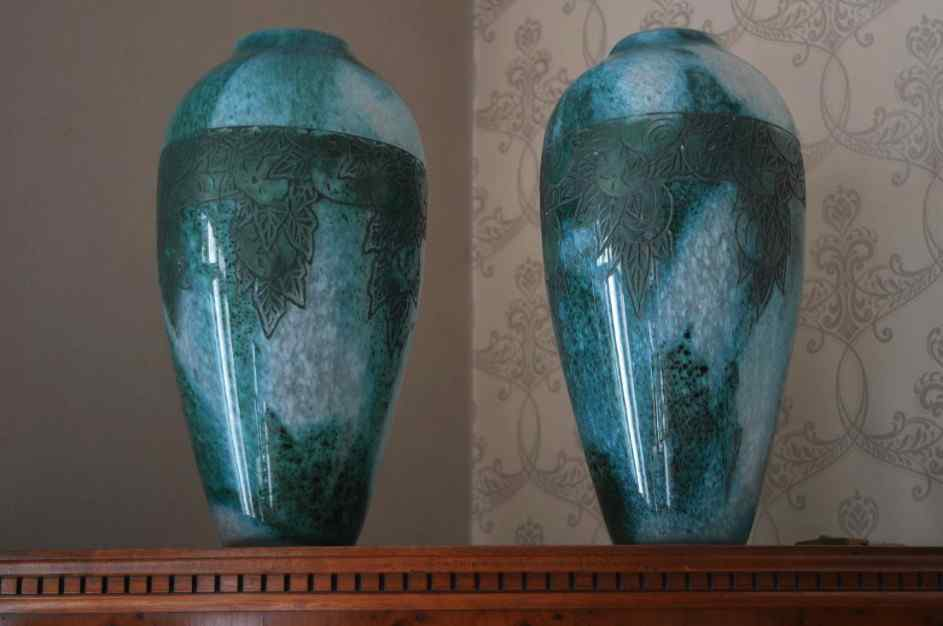 Pair Of Vases Legras. Circa 1925.