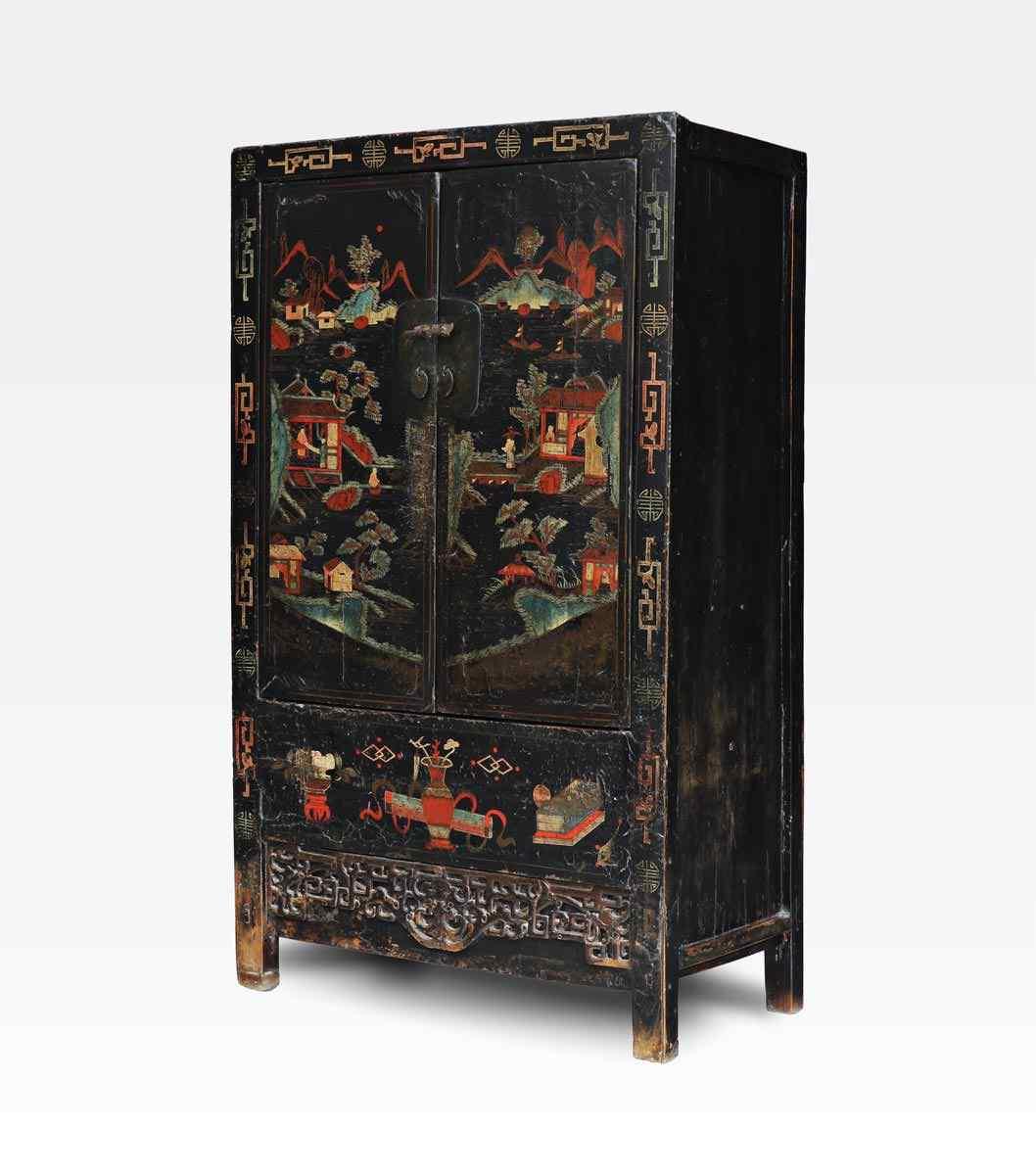Armadio cinese laccato nero in legno di olmo- Dinastia Qing