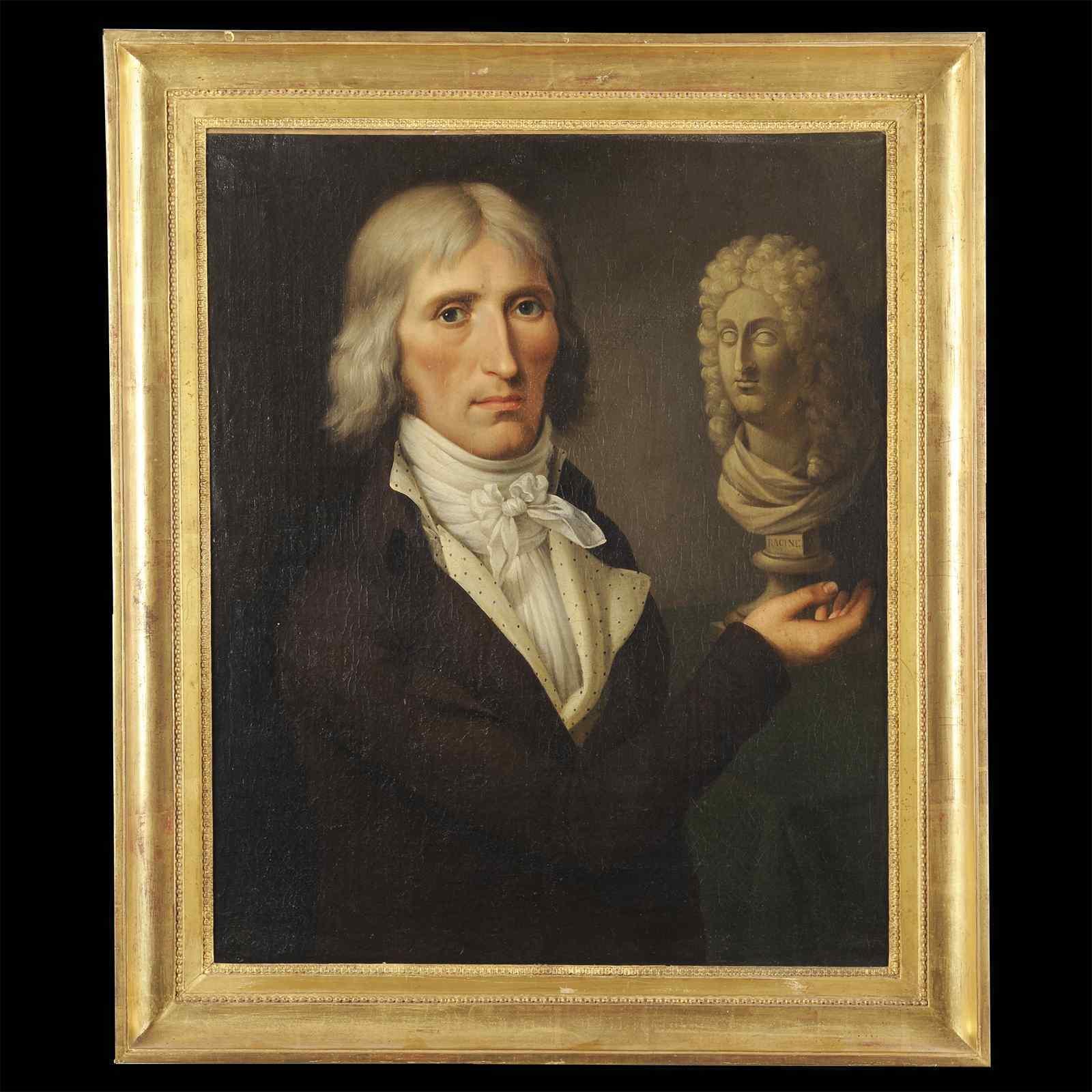 Portrait of Man with Racine bust - Around 1795 French school