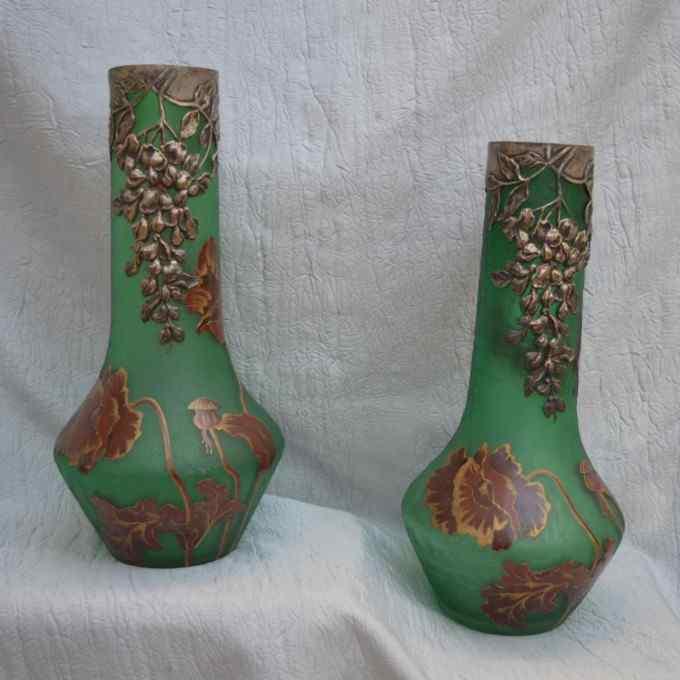 Paire De Vases Art Nouveau, Victor Saglier, XIXème.
