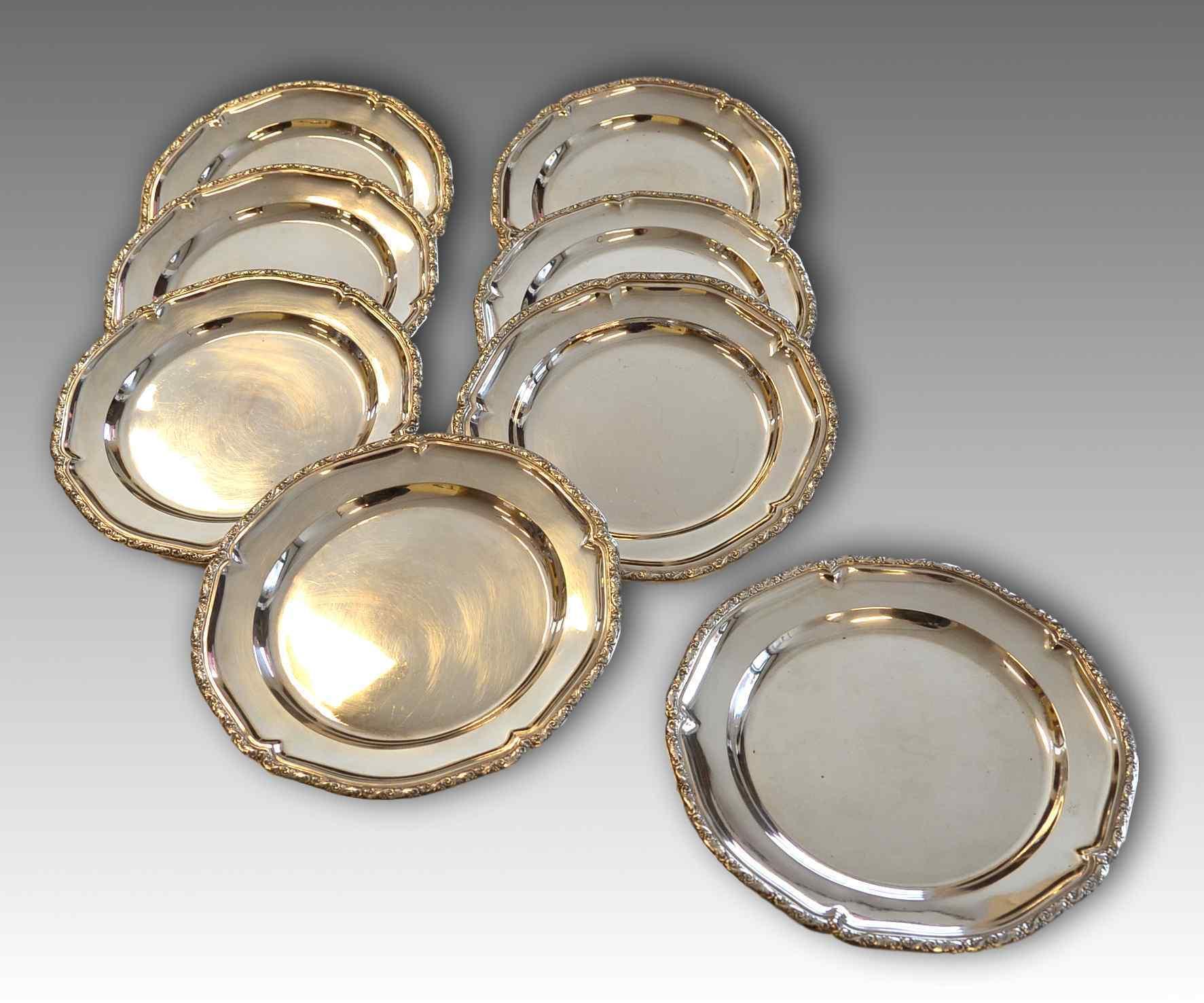 Otto piatti in argento 800/°°°, Austria, fine XIX secolo