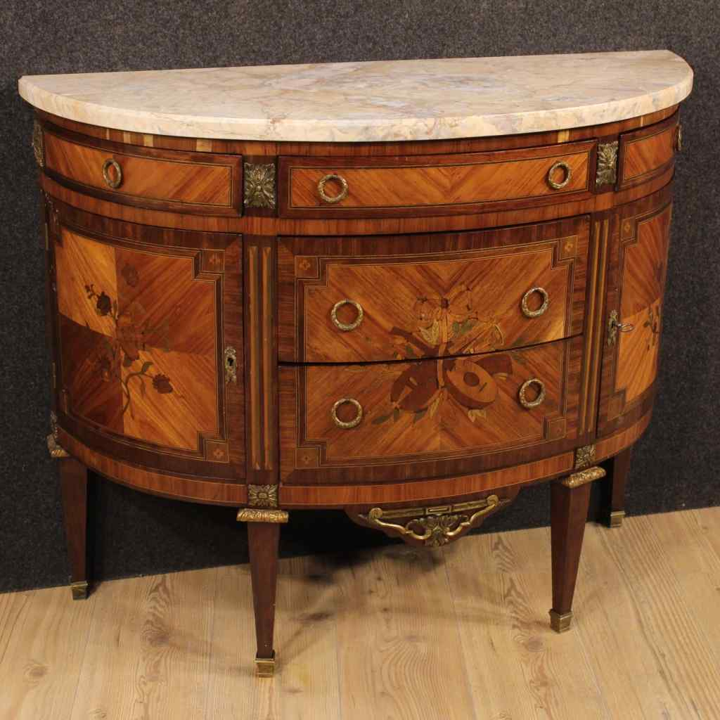 French inlaid demi lune dresser of the early 20th century