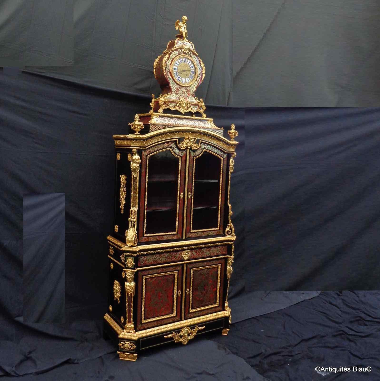 Secretaire Boulle con orologio, XIX secolo