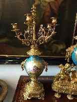 Grande Trittico in bronzo dorato e ceramica di Sevres-0