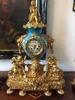 Grande Trittico in bronzo dorato e ceramica di Sevres-2