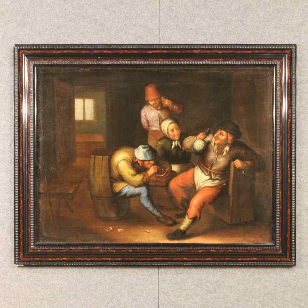Antico dipinto fiammingo scena d'interno del XVIII secolo