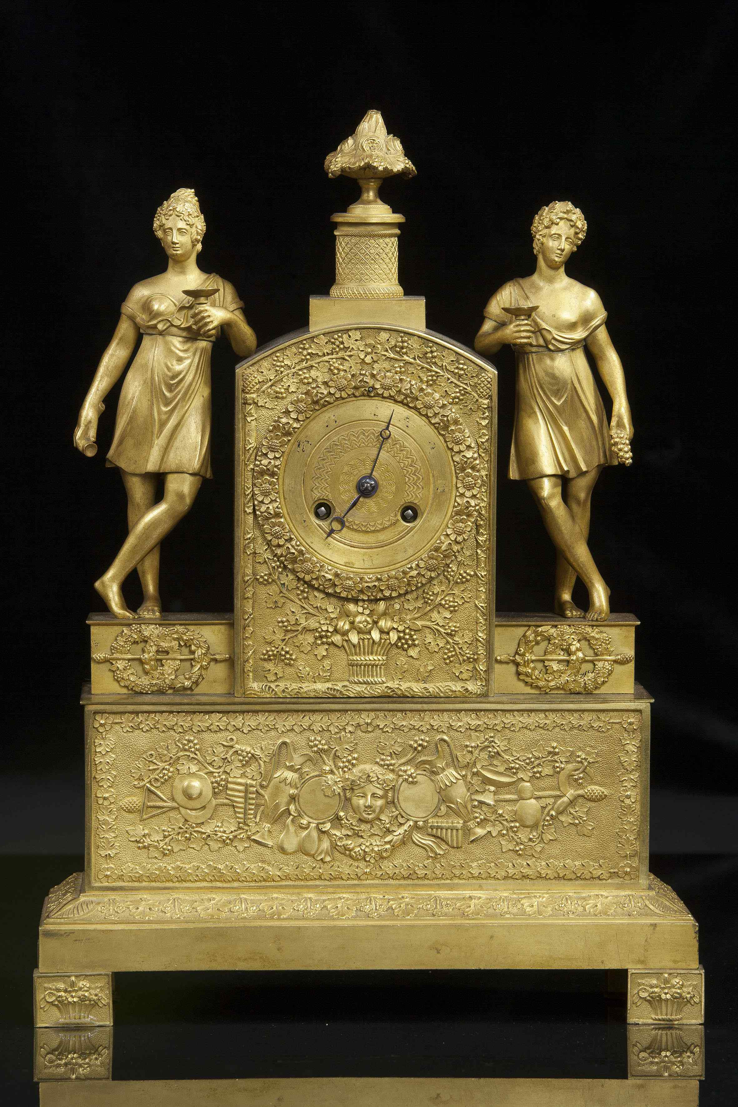 Orologio da tavolo in bronzo dorato