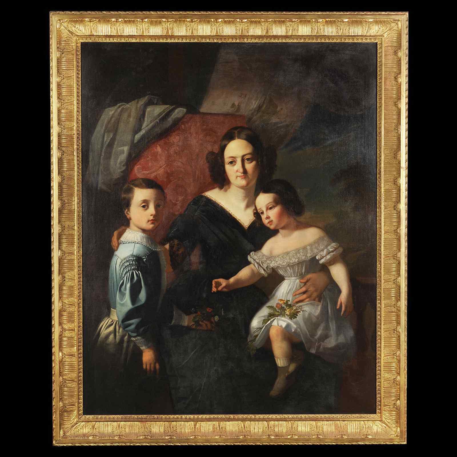 Grande ritratto di famiglia del francese Dr. Cruveilhier