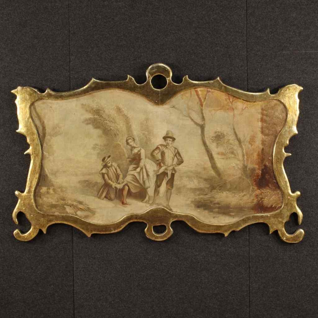 Tableau français paysage avec scène romantique XIXème siècle